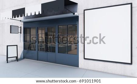 Front view Cafe shop & Restaurant design. Modern Loft counter steel black. Top counter concrete, 3D render