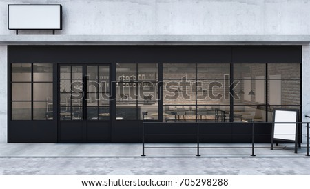 front view cafe shop  ...