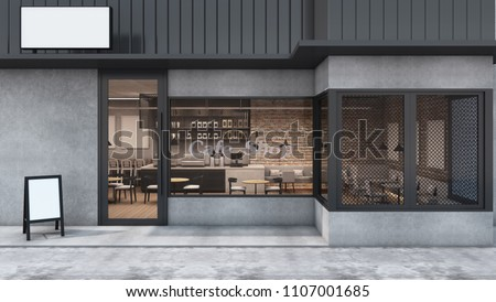 Front view Cafe shop & Restaurant design. Modern Loft metal sheet black. wall concrete,windows black metal frame- 3D render
