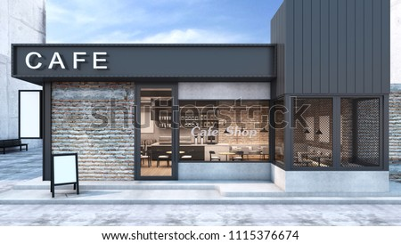 Front view Cafe shop & Restaurant design. Modern Loft metal sheet black.White cafe text.wall Brick,Windows black metal frame- 3D render
