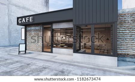 Front view Cafe shop & Restaurant design. Modern Loft metal sheet black.White cafe text.wall Brick,Windows black metal frame- 3D render