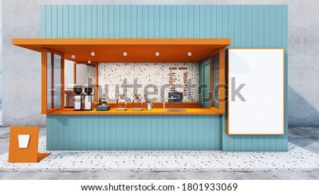Front view Cafe shop & Restaurant design. Modern minimal blue metal black.Windows orange frame metal,Counter top orange metal,Text menu on granite wall,Granite floors- 3D render