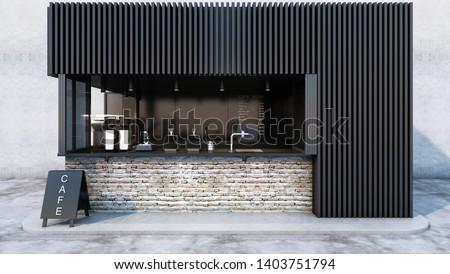 Front view Cafe shop & Restaurant design. Modern minimal metal black.Counter top black metal brick,windows black metal frame- 3D render