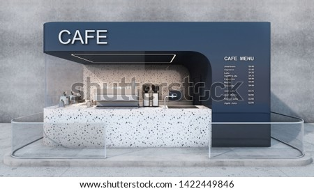 Front view Cafe shop & Restaurant design. Modern minimal.Text cafe and menu on blue wall,Counter granite stone, Granite stone wall,Glass windows,Glass rail,Concrete floor- 3D render