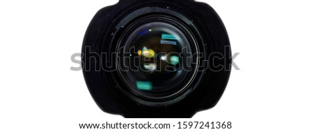Front view Camera lens bokeh with lens reflections for web background