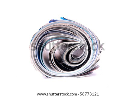 Front view closeup of a rolled magazine. Image isolated on white studio background.