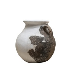 front view closeup of antique reconstructed pot vase with small handle isolated on white background
