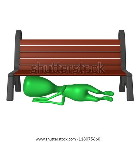 Front view drunk green puppet sleeping under bench