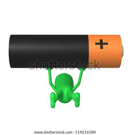 Front view green puppy increase battery by hands