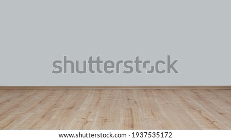 Front view insulated wall and wooden parquet floor. Foto stock ©