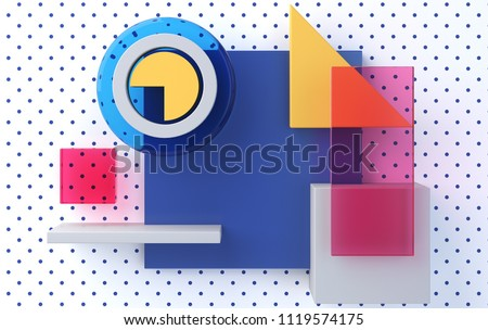 Front view, minimalist abstract background, primitive geometrical figures, pastel colors, 3D render stock photo