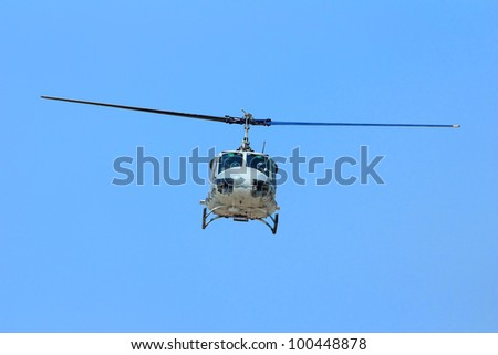Front view of a Army helicopter