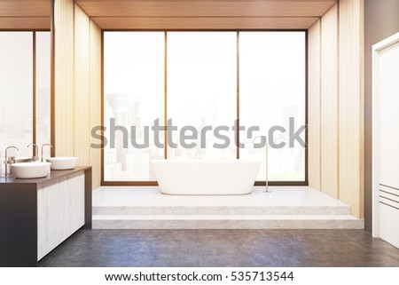 Front view of a bathroom with light wooden walls, a bathtub and two sinks. Concept of relaxation. 3d rendering. Toned image