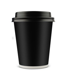 front view of a black coffee cup with black lid isolated on white background