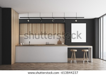 Front view of a black kitchen with a bar and light wooden furniture. There is a blank framed poster on a wall. 3d rendering, mock up