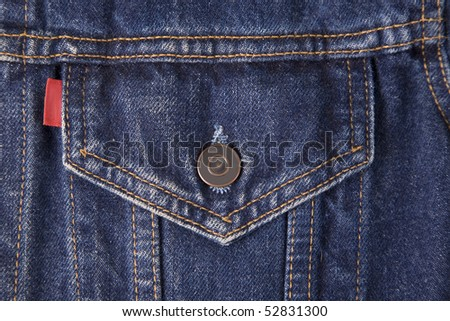 front view of a blue jeans pocket