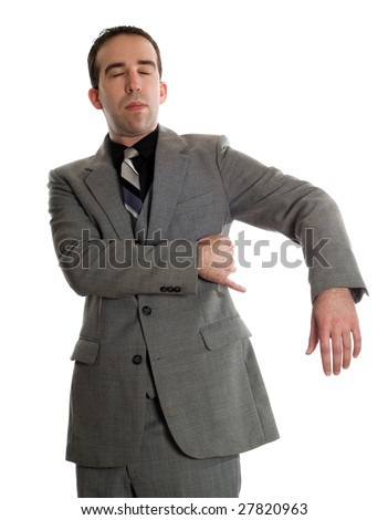 Front view of a businessman tapping under his arm as a step in performing the Emotional Freedom Technique, isolated against a white background