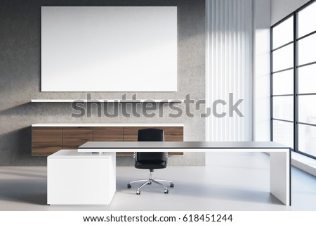 Front view of a CEO office with long table, a chair and a horizontal poster hanging on a gray wall. 3d rendering, mock up