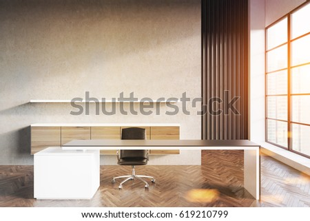 Front view of a CEO office with long table, a chair and a shelf hanging on a gray wall. 3d rendering, mock up, toned image #619210799