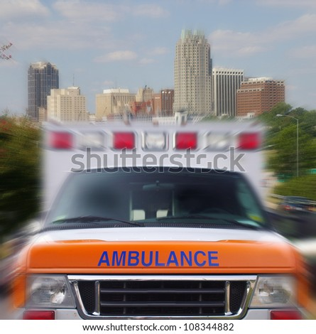 Front view of a city ambulance in motion