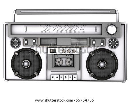 Front view of a 3D boombox.
