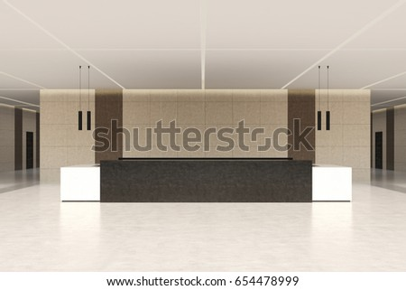 Front view of a dark brown and white reception counter standing against a beige wall in an office building or a hotel. 3d rendering, mock up