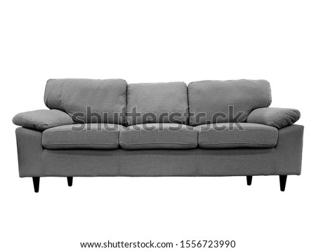 Front view of a fabric modern grey sofa isolated on a white background. Foto stock ©