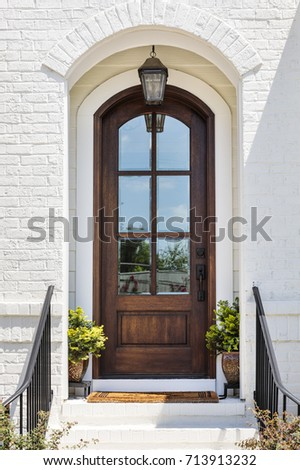 Front view of a front door #713913232