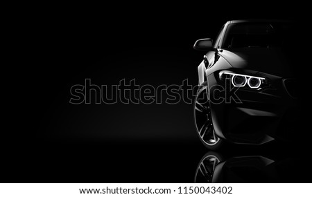 Front view of a generic and brandless moder car on a black background: 3d illustration