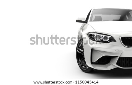 Front view of a generic and brandless moder car on a white background 3d illustration