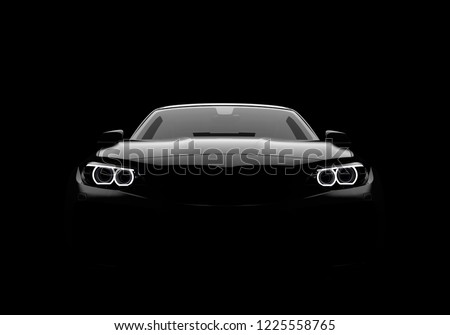 Front view of a generic and brandless modern car on a black background. 3D illustration Foto d'archivio ©