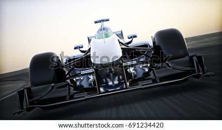 Front view of a Generic blue race car and driver traveling at a high rate of speed. Motion blur 3d rendering