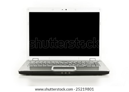 Front view of a laptop computer isolated on white