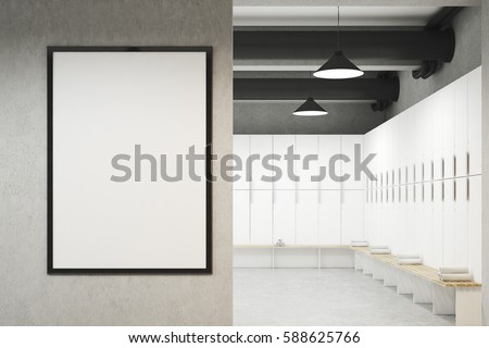 Shutterstock Front view of a locker room with framed poster hanging on a light gray wall, a row of white storage lockers near the wall and a bench with rolled towels on it. 3d rendering. Mock up.