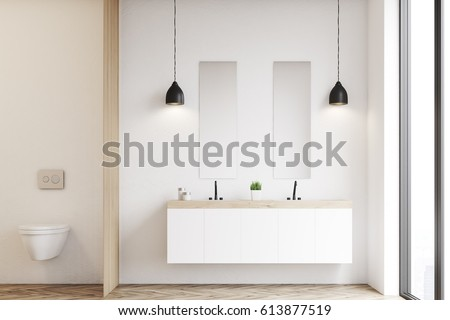 Front view of a modern beautiful bathroom with a toilet and a double sink. The wall is white. 3d rendering