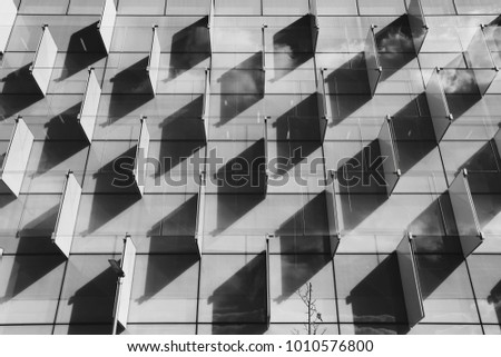 front view of a pattern shadows in a building. Architecture. Horizontal