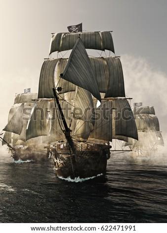 Shutterstock Front view of a pirate ship fleet piercing through the fog. 3d rendering