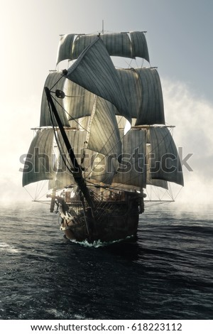 Shutterstock Front view of a pirate ship vessel piercing through the fog headed toward the camera . 3d rendering