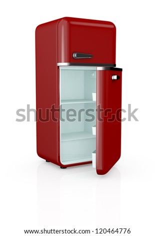 front view of a red vintage fridge, the door is open and the fridge is empty (3d render)