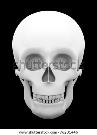 Front view of a skull in white over a black background