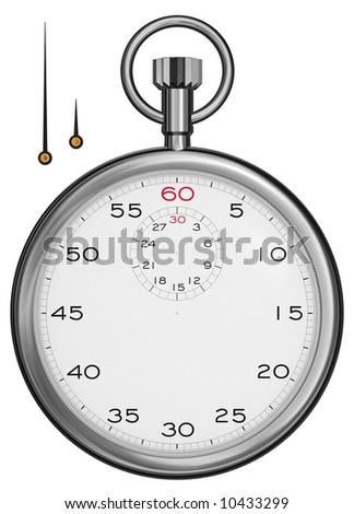 Front view of a stopwatch isolated on white [high resolution 3d render]. Hands included separately.
