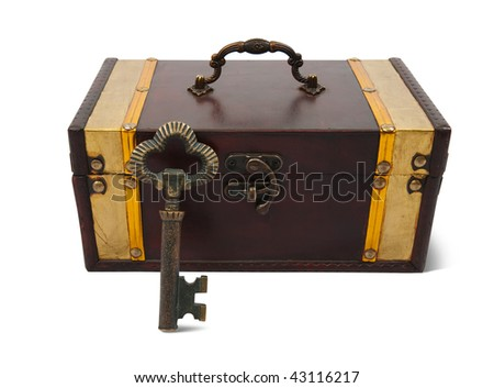 Front view of a treasure chest with vintage key  on a white background with clipping path
