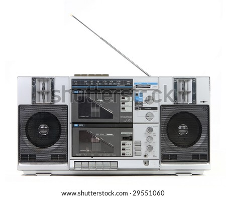 Front View of a Vintage Boom Box Cassette Tape Player Isolated on White Background - stock photo