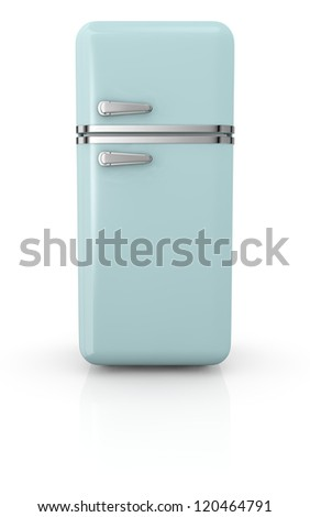 front view of a vintage fridge (3d render)