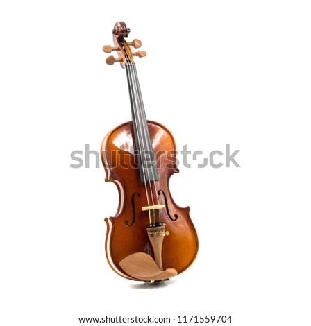 Front view of a violin isolated on white background. Stock fotó ©