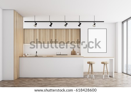 Front view of a white kitchen with a bar and light wooden furniture. There is a blank framed poster on a wall. 3d rendering, mock up