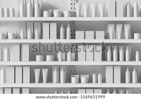 Front view of a white supermarket shelf with products in the form of bottles, boxes, personal care products, cosmetics. Trade concept. Close up. 3d rendering 商業照片 ©