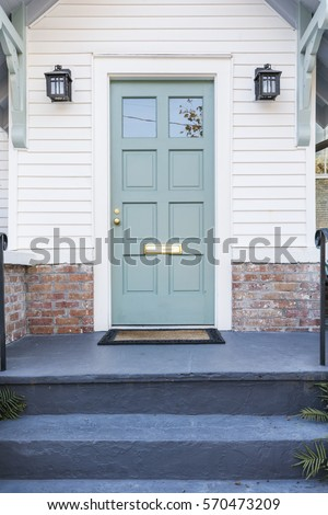Front view of an inviting porch #570473209