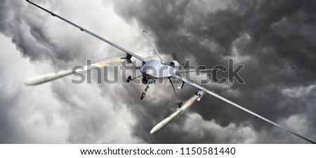 Front view of an unmanned aerial vehicle (UAV) military drone firing missile rockets at a target . 3d rendering