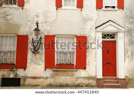 Shutterstock front view of ancient house in Charleston city